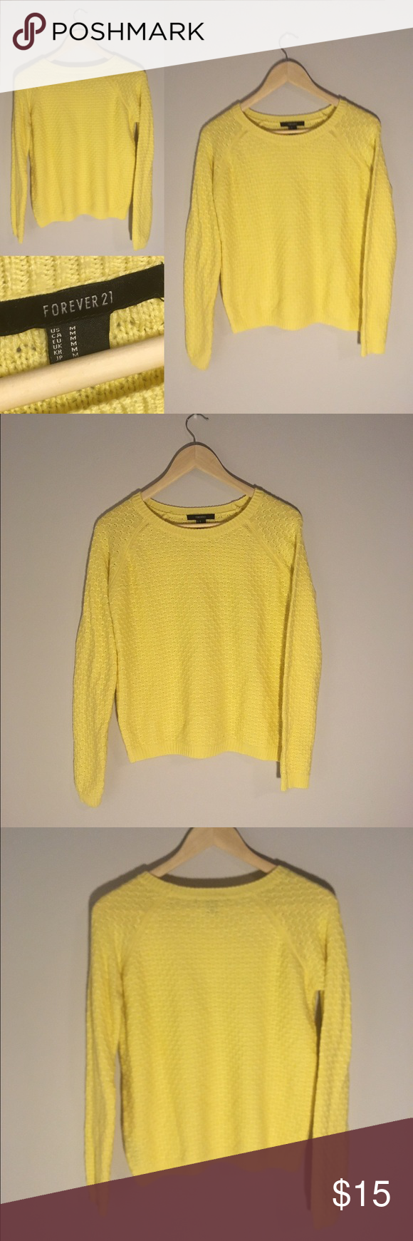 NWOT F21 Yellow Knit Sweater This cozy yellow knit sweater from Forever21 has never been worn! It would go perfectly with a statement necklace and your favorite skinny jeans. Women's Size M. Feel free to ask any questions! 😁 Forever 21 Sweaters Crew & Scoop Necks