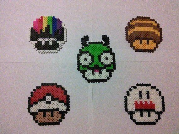 Super Mario Mushrooms Perler Bead Art Keychains