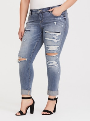 1782d540799 Mid-Rise Straight Leg Boyfriend Jeans in Distressed Medium Wash in Blue