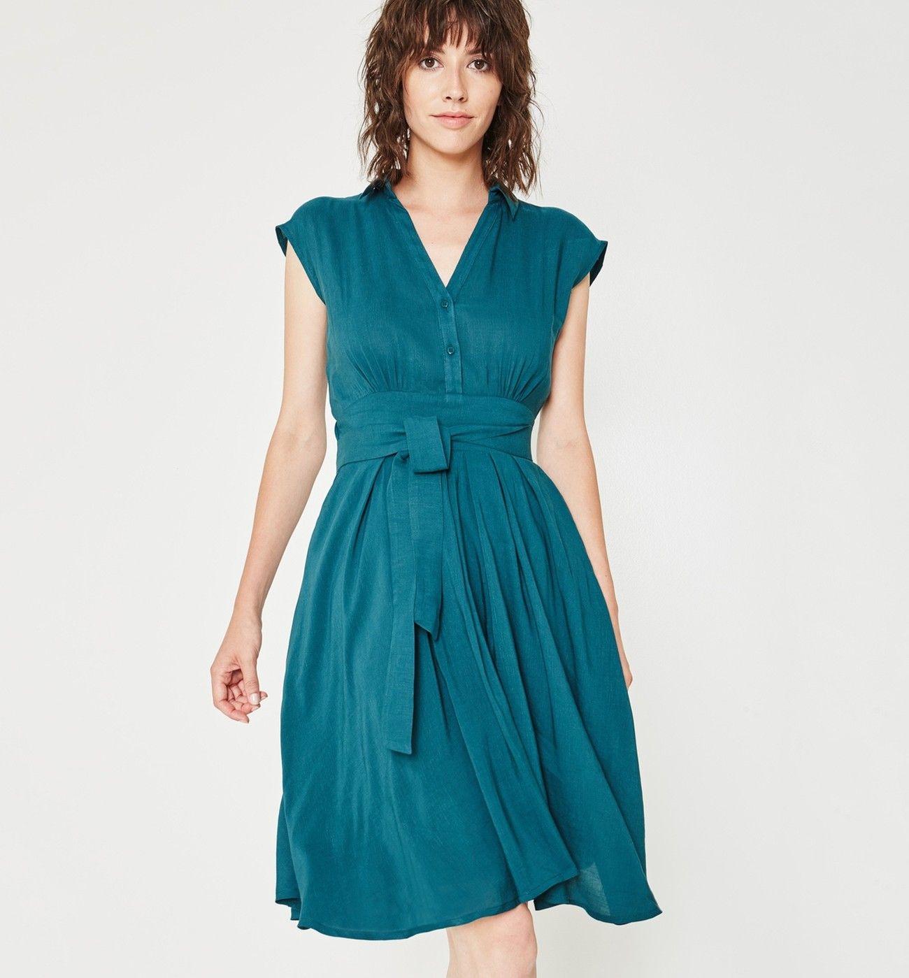 4144fc6b616 Robe ceinturée Femme - Vert émeraude - Robes - Femme - Promod ...