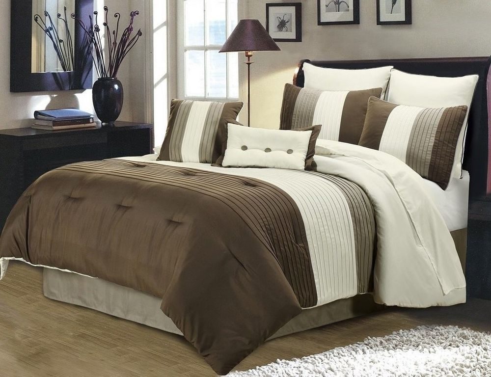 QUEEN 8 Piece Comforter Bedding Set Striped Brown off White Taupe