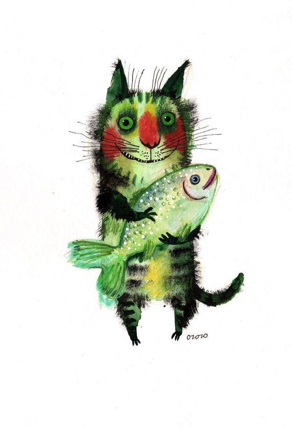 katze mit fisch malen, the cat with a fish, original painting by ozozo | katzen, Design ideen