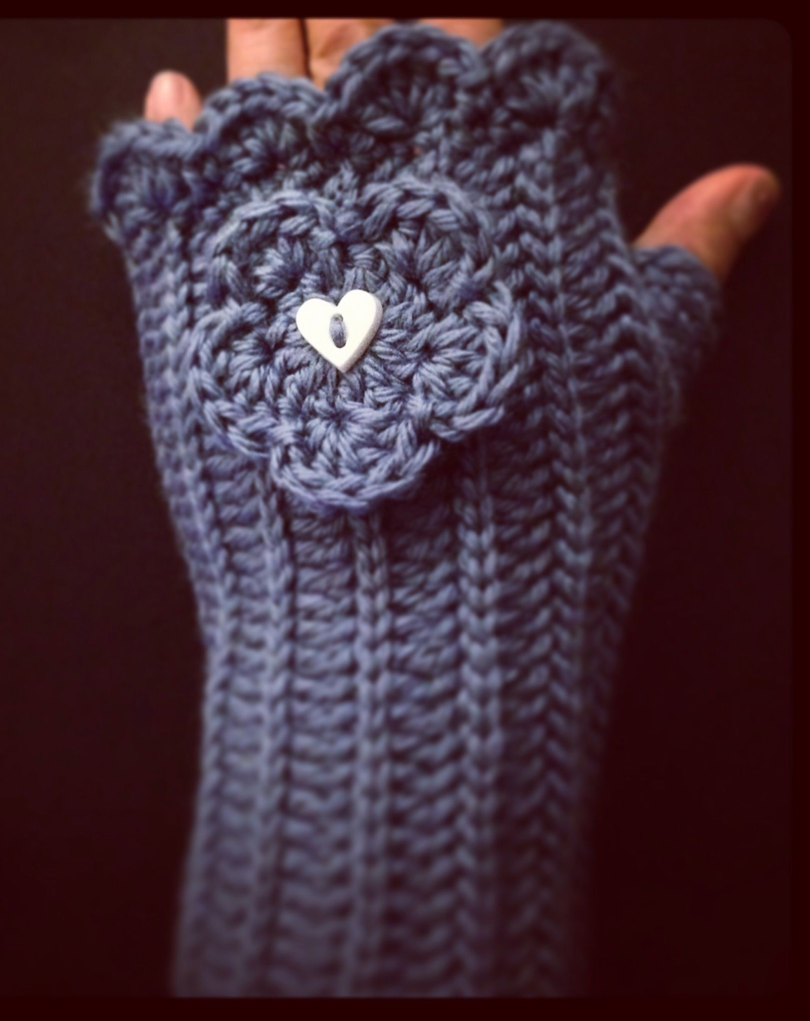 Fingerless gloves made with Caron Simply Soft yarn using single ...