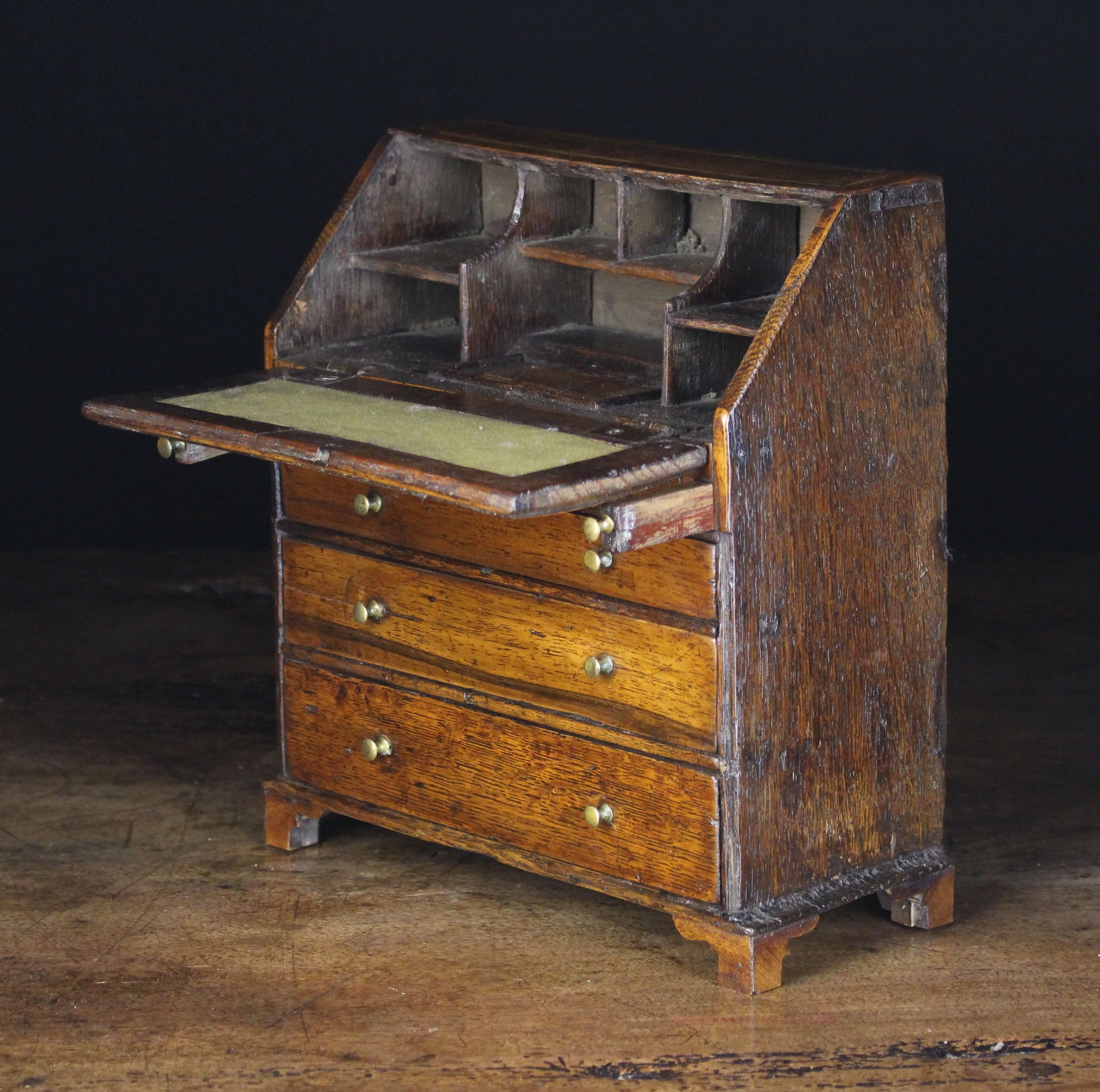 A 19th Century Miniature Walnut Bureau Inlaid With Stringing Miniature House Miniatures Oak