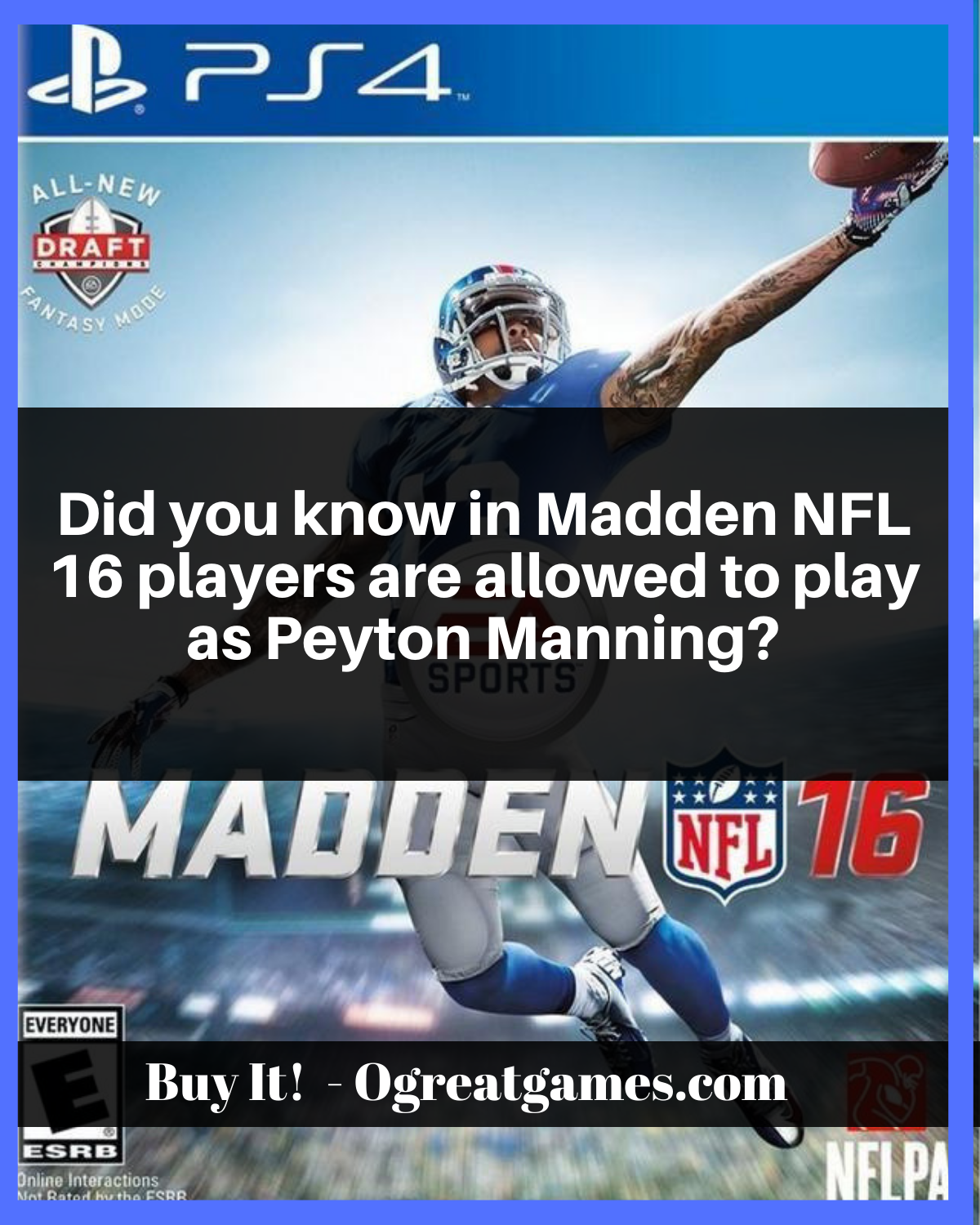 Did You Know In Madden Nfl 16 Players Are Allowed To Play As Peyton Manning Ps4 Videogaming Knowledge Questions Dyk Madden Nfl Nfl Madden