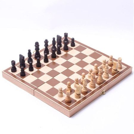 Little Star Wooden Chess Set Pieces Wood With Board Storage Box
