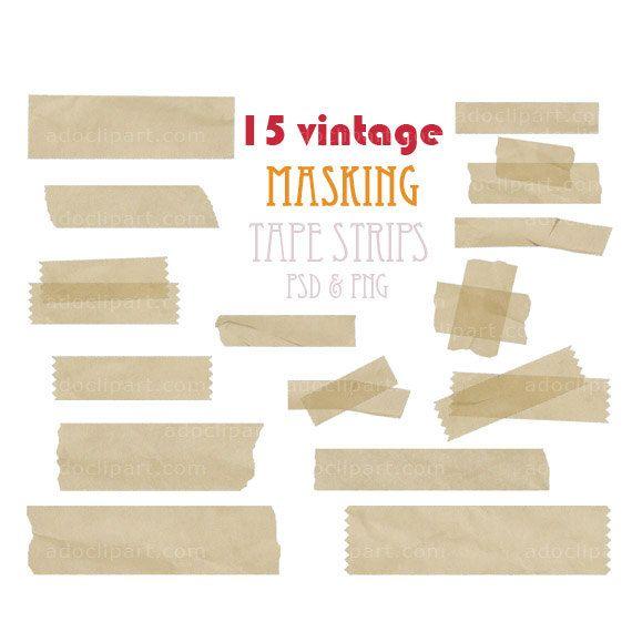 Digital Masking Tape Strip Set Vintage Tape Clipart Pack For Scrapbooking Web Design Card Making Photographers Invites Clip Art Masking Tape Web Design