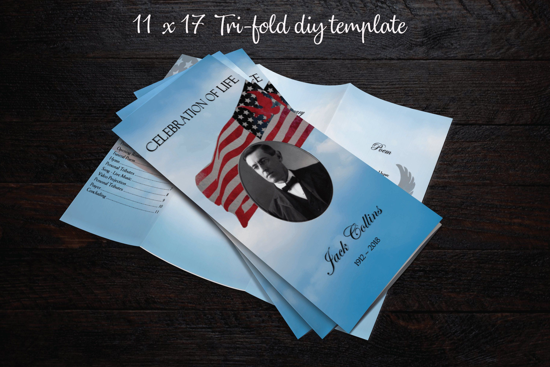 17x11 tri fold printable memorial program printable