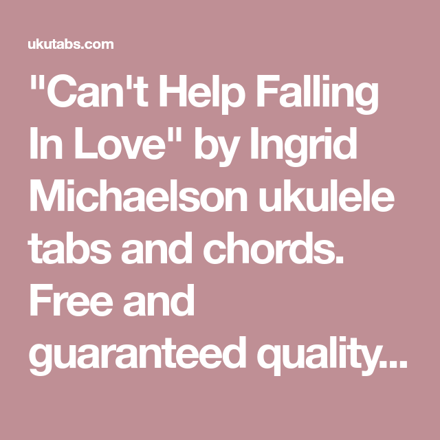 Can\'t Help Falling In Love\