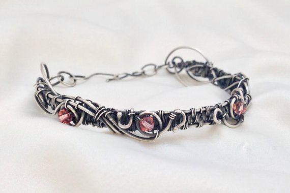 Oxidised Sterling Silver Wire Woven Bracelet