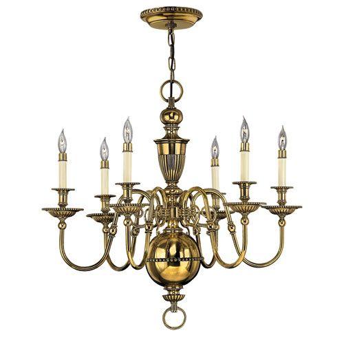Hinkley Cambridge Burnished Brass Six Light Chandelier 4416bb #altenkronleuchter