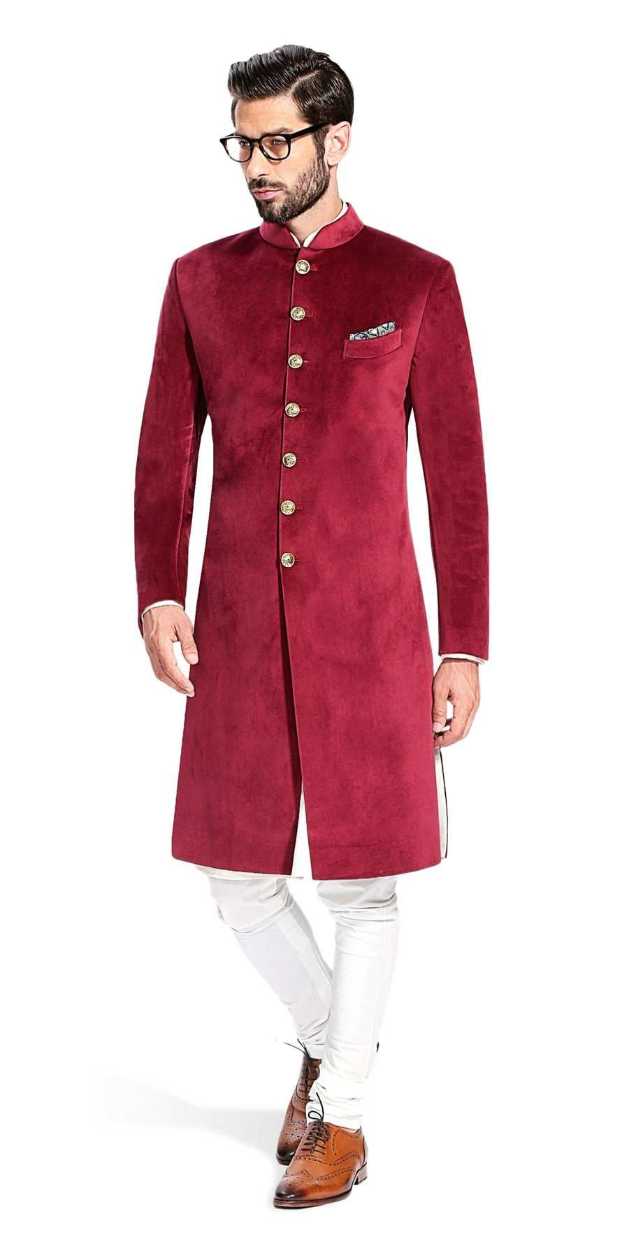 Sujaan maroon velvet men fashion pinterest sherwani indian