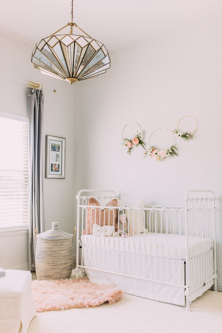 May 11 Sophisticated Blush and White Baby Girl Nursery images