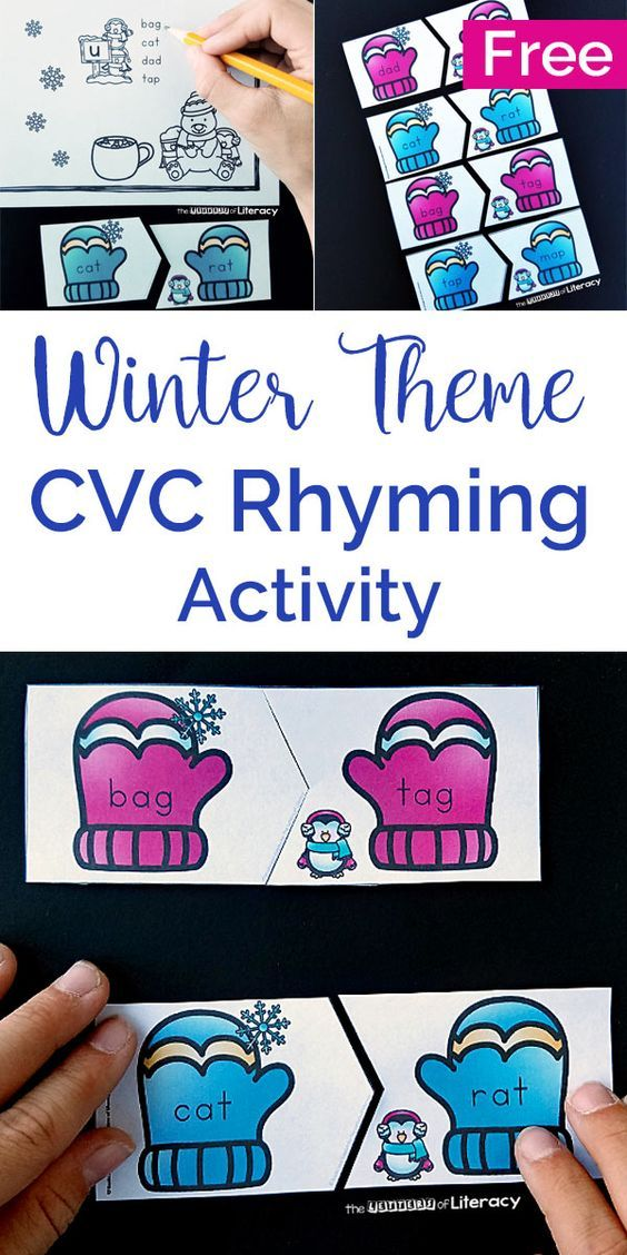 winter rhyming cvc words activity for literacy centers reading sight words ideas. Black Bedroom Furniture Sets. Home Design Ideas