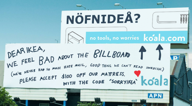 Koala Mattresses Doubles Down On Ikea Billboard Sorry Not Sorry Marketing Strategy Marketing Techniques Traditional Advertising