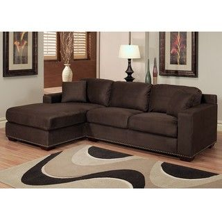@Overstock - Add style and comfort to your home with this sectional sofa. This set features a dark brown micro-suede upholstery, high density foam fill and a no-sag spring construction for years of luxurious comfort.    http://www.overstock.com/Home-Garden/Monrovia-Dark-Brown-Nailhead-Trim-Microsuede-Sectional-Sofa/6459478/product.html?CID=214117 $1,299.99