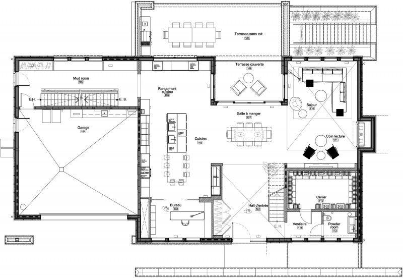 Architecture, Sketch Third Floor Iron Lace Modern House Design Plan