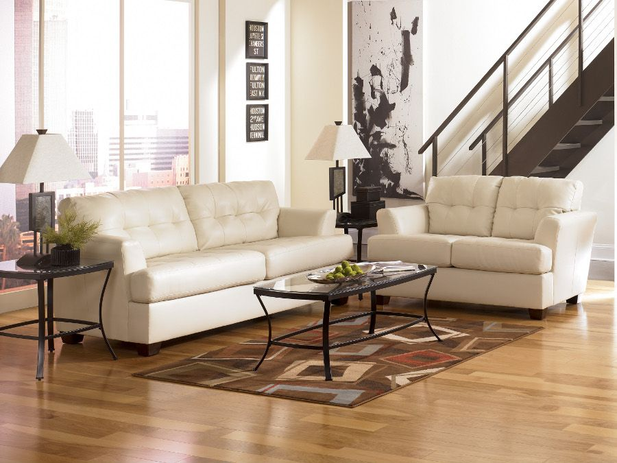 Room  Durablend Ivory Sofa Loveseat sofa loveseat livingroom rana