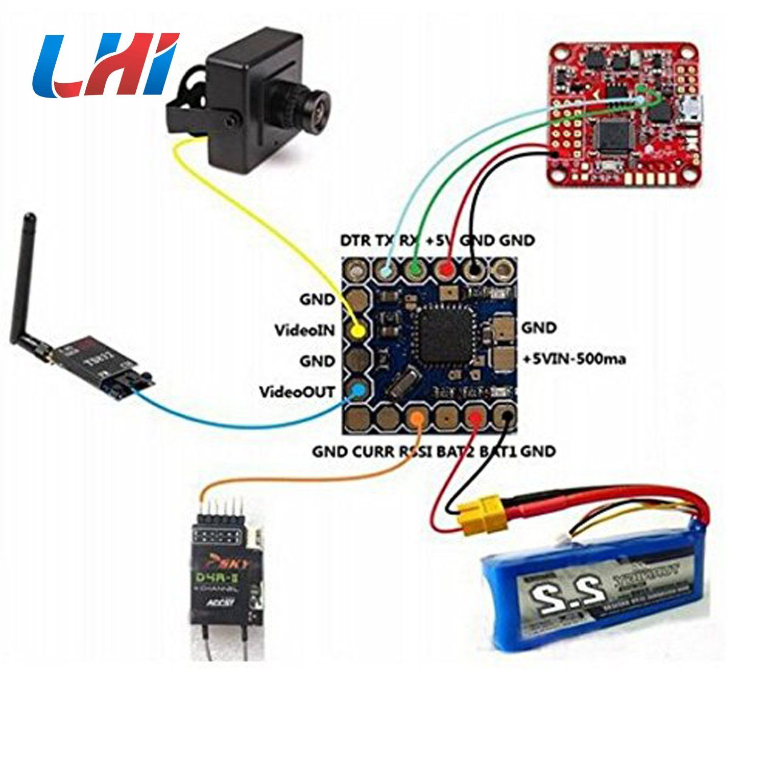 Amazon lhi micro minimosd minim osd mini osd w kv team mod for how to connect components may these quadcopter wiring diagram guide help you making a few of your own drone a bit easier drone wiring diagram very asfbconference2016 Image collections