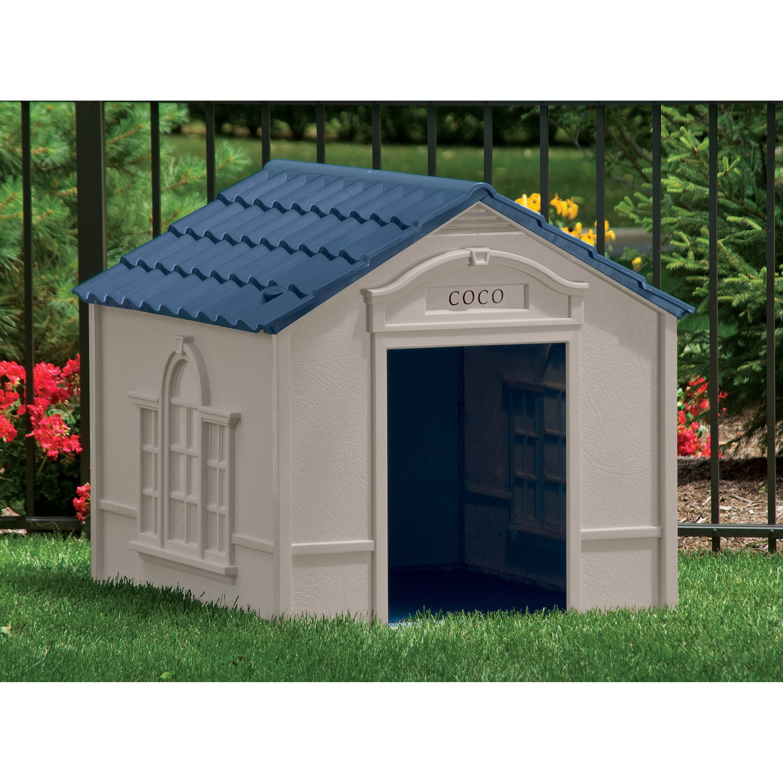 Deluxe Dog House In Taupe Blue Large Dog House Plastic Dog