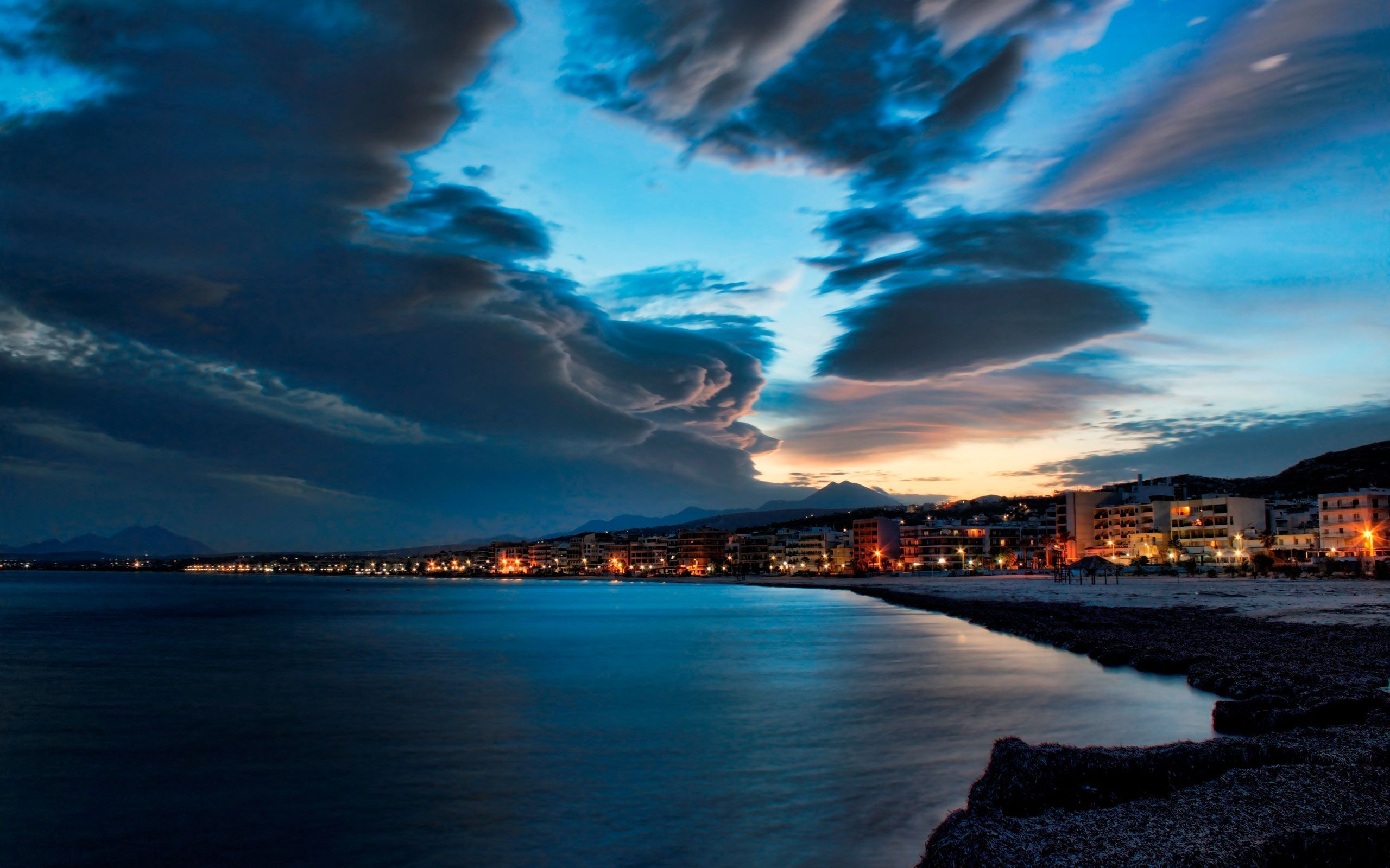 Download Lighting The Sea At Night x HD Wallpaper