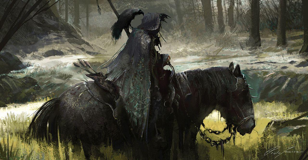 Quarkmaster Dark Horse Rider Piotr Jamroz Fantasy Horses Fantasy Medieval Horse Wallpaper fantasy horse night forest art