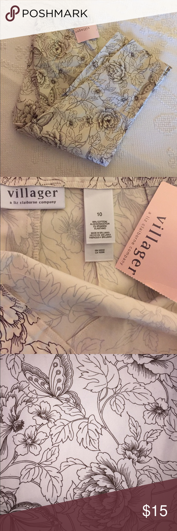"""NWT Liz Claiborne Villager Cotton Ankle Pants NWT Liz Claiborne Villager Cotton Ankle Pants- size 10, 31"""" waist, 23"""" inseam. Cotton with 2% spandex for Stretch. Pretty brown on cream line design. 3rd photo is truest to actual color. Liz Claiborne Pants Ankle & Cropped"""