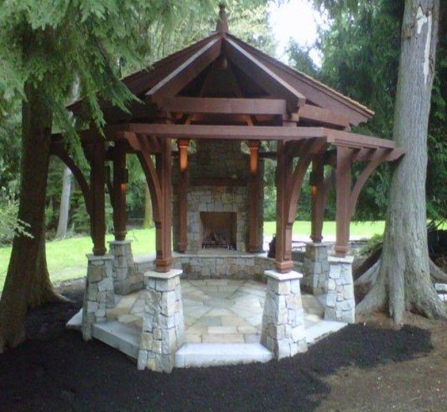 A Beautiful Gazebo Fireplace Ideas Stone Patio Designs Patio