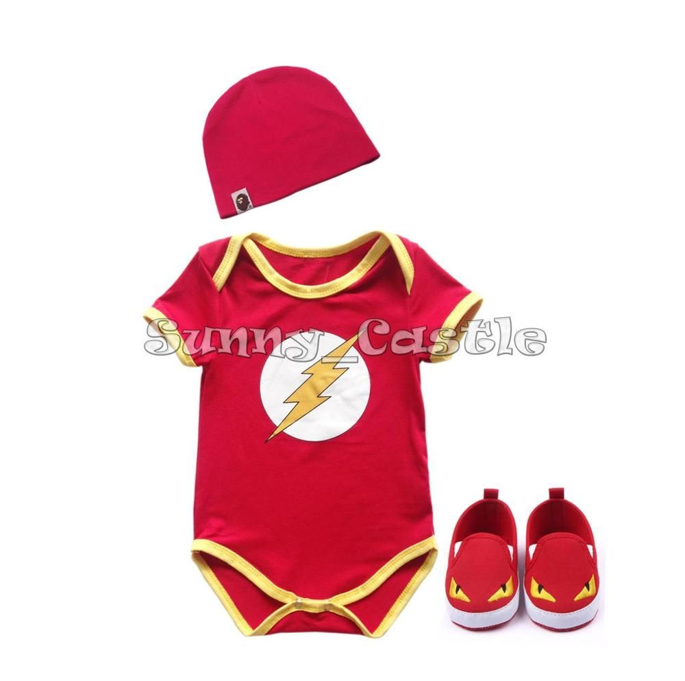 New Baby Boy Girl The Flash Romper Outfit Clothes Jumpsuit Hat Set