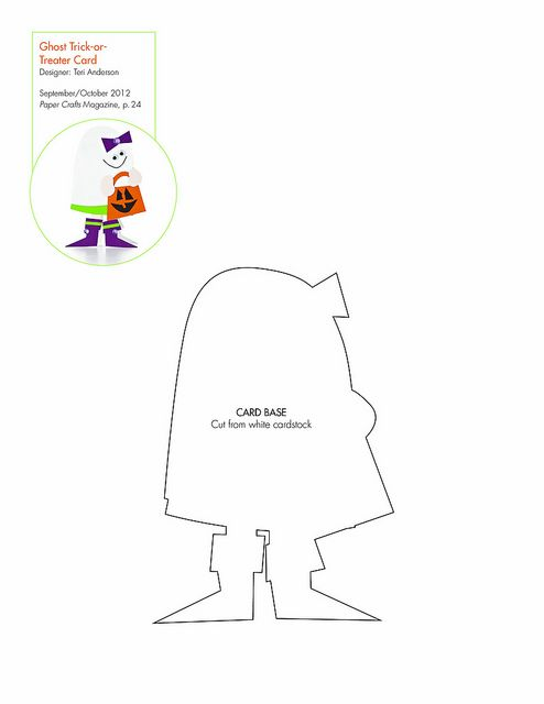 free ghost trick or treater pattern  template  downloadable