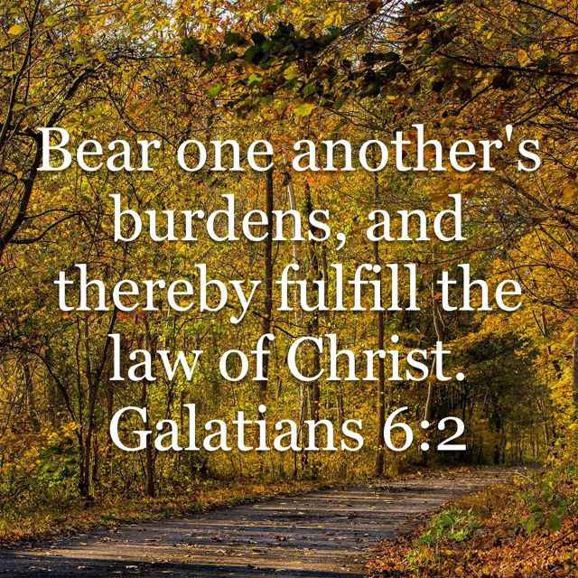 Galatians 6:2 Bear one another's burdens, and thereby fulfill the law of Christ.   New American Standard Bible - NASB 1995 (NASB1995)   Download The Bible App Now