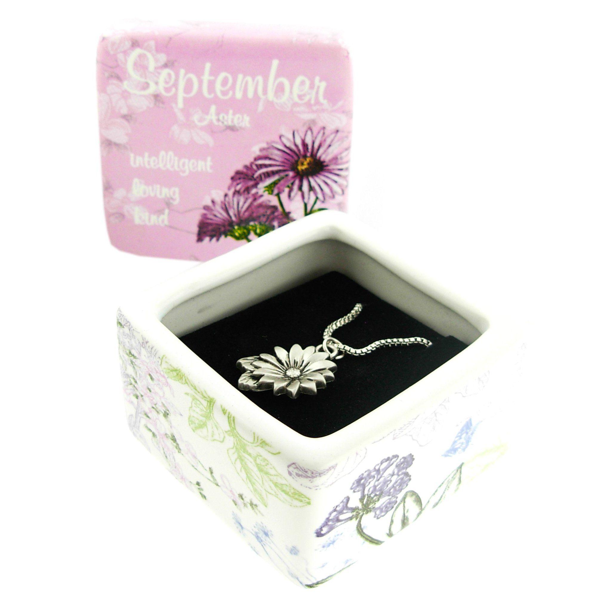 September Aster Flower Of The Month Keepsake Box