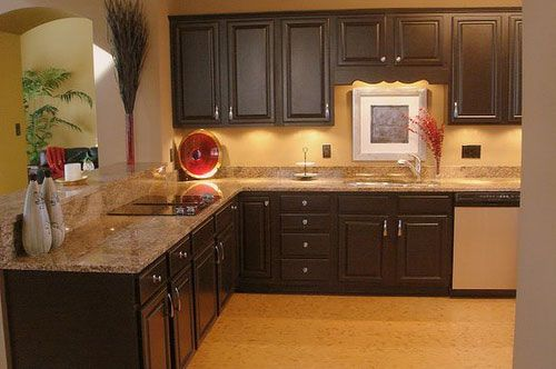 Kitchen Colors With Dark Cabinets Small Kitchen Makeovers Brown Kitchen Cabinets Painting Kitchen Cabinets