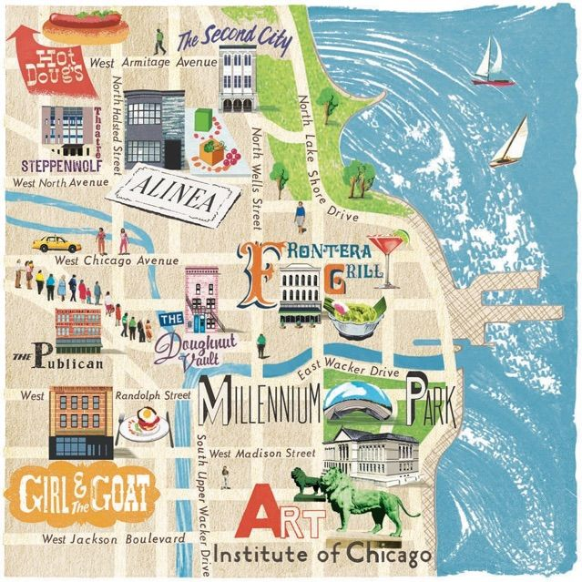 Chicago map   Anna Simmons | Map Illustrations | Pinterest | Map