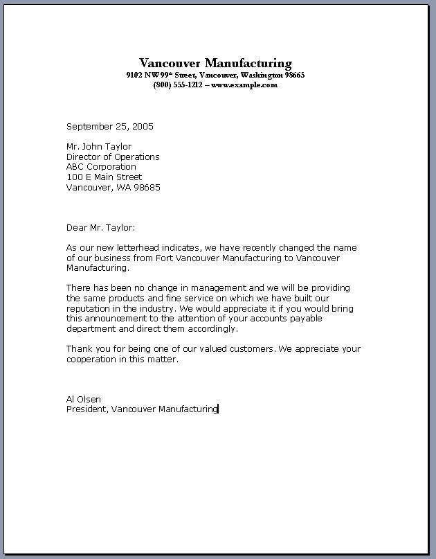 Business Letter Example For Company Mple Introduction In Professional Letter Template Word