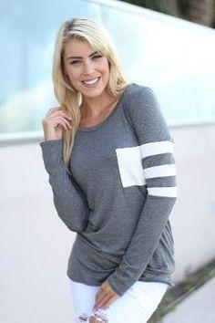 Womens Striped Long Sleeve Pocket Shirt
