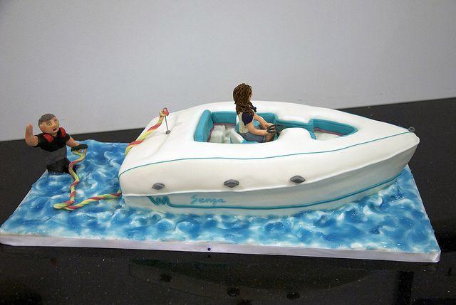 Water Ski Boat Cake With Images Boat Cake Lake Cake Dad Cake