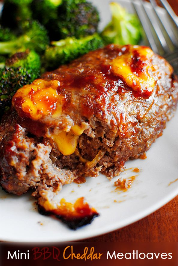 Mini BBQ Cheddar Meatloaves - these make for an even faster dinner if you make the meatloaves ahead of time!