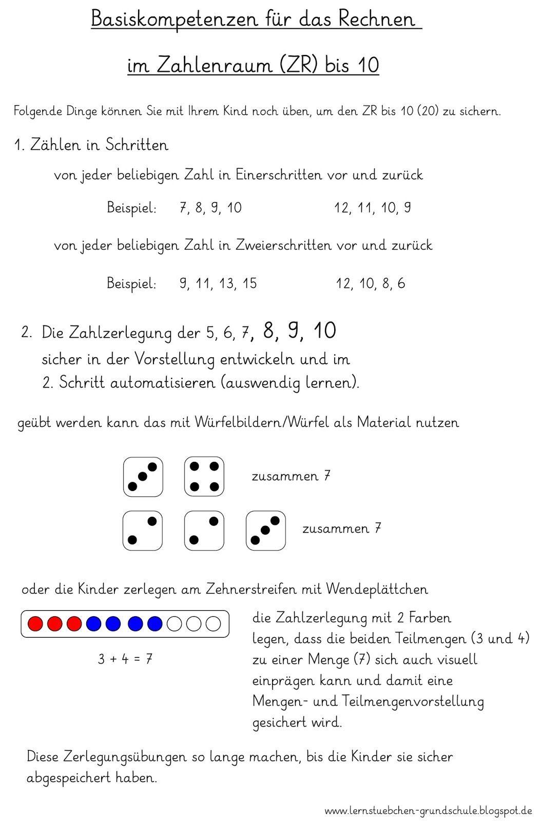 Lernstübchen: wenn der ZR bis 10 noch nicht gesichert ist...   Mathe ...