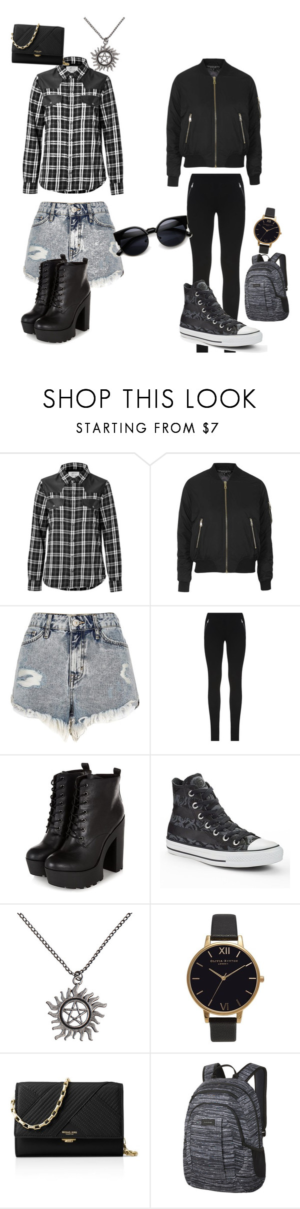 """Bff outfits"" by baconkat ❤ liked on Polyvore featuring Current/Elliott, Topshop, River Island, Emilio Pucci, Converse, Olivia Burton, Michael Kors and Dakine"