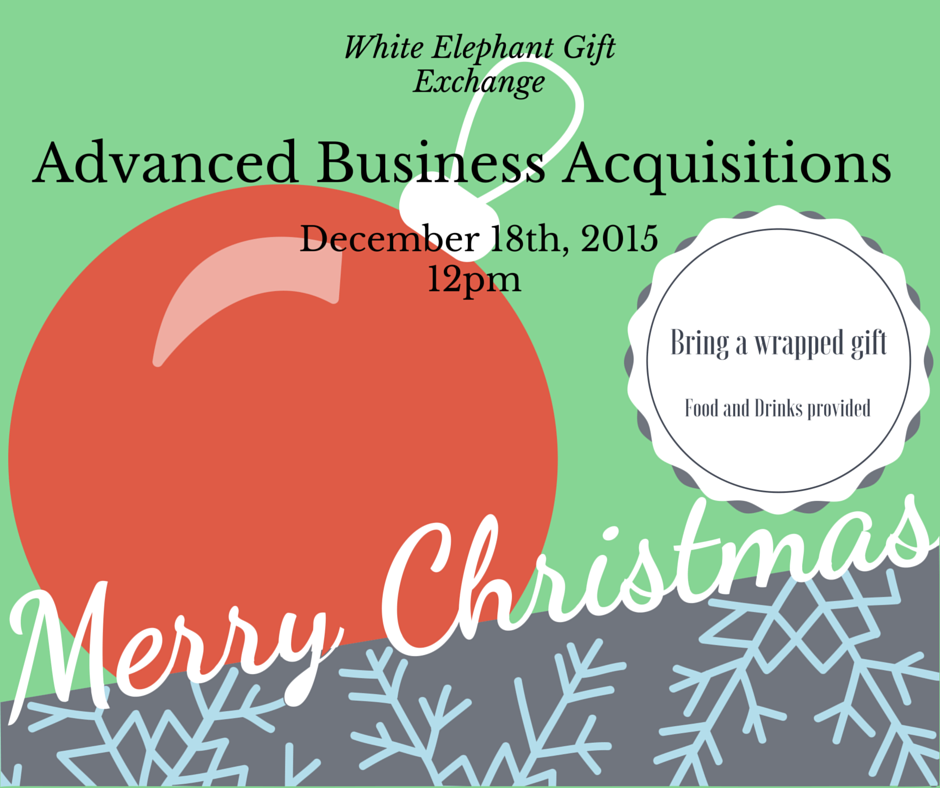 Don't forget about our annual White Elephant Gift Exchange this Friday, the 18th, at 12pm!    Bring your wrapped gift for food and fun!