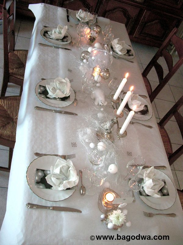 Diner d coration blanc recherche google deco int rieur pinterest decoration blanc - Decoration de table de noel blanche ...