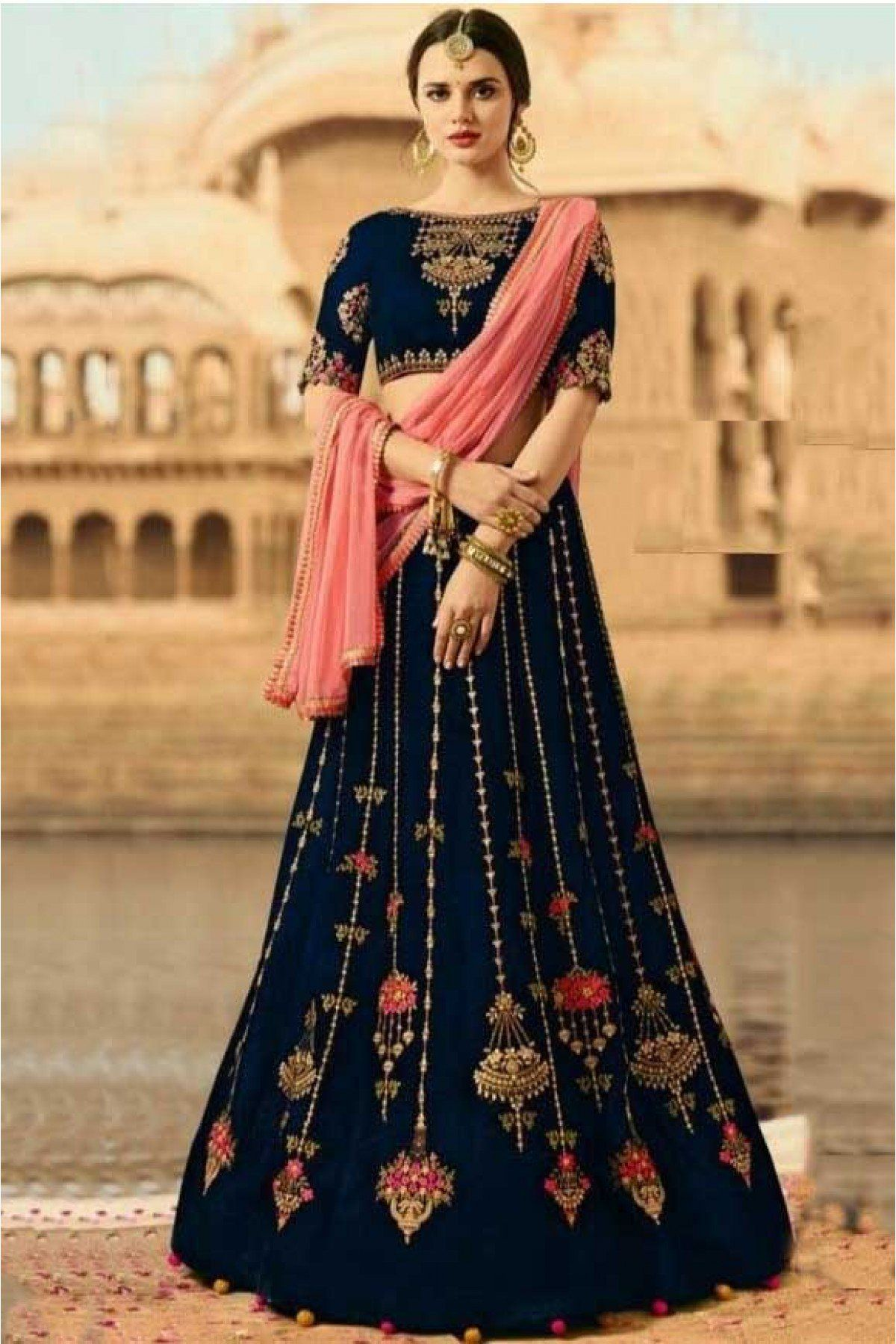 fb08a4e9ba Buy Silk Lehenga Choli In Navy Blue Colour @ ninecolours.com. Free Shipping  in India available!