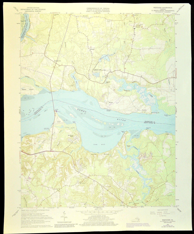 James River Map Of Berkeley Virginia Art Print Wall Decor Large