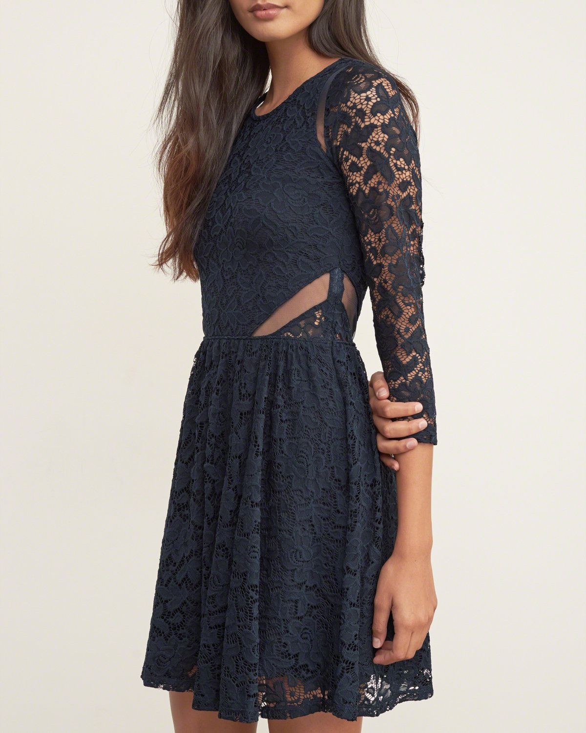 Womens Lace Skater Dress | A feminine take on a skater silhouette with all-over intricate lace, featuring feminine mesh and sheer detailing, Flirty Fit | Abercrombie.com