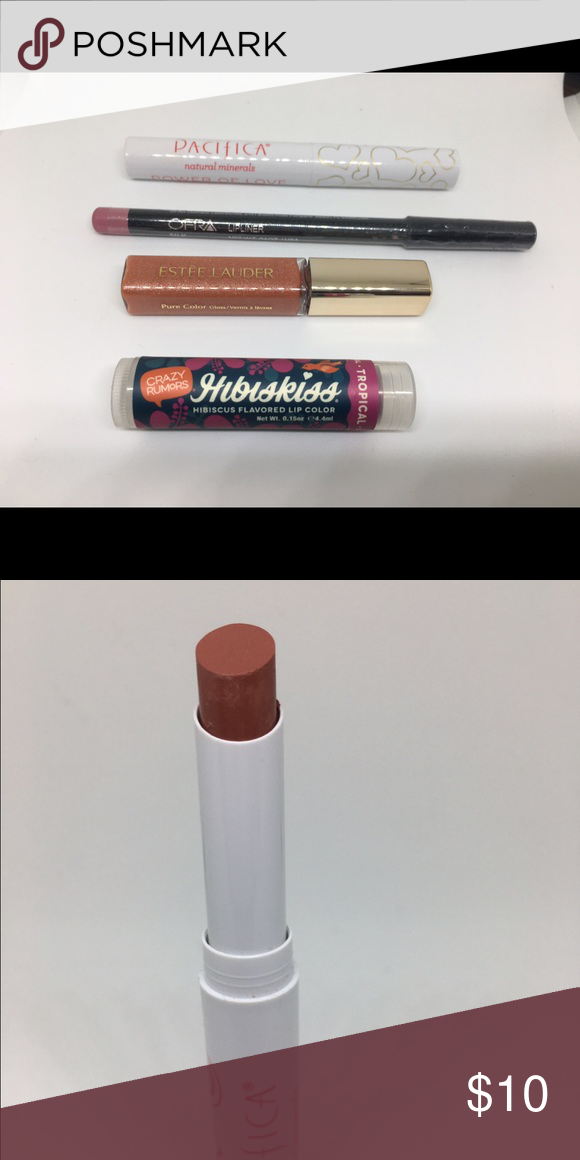Lip Lot 4 •Pacifica Power of Love in Tender Heart (swatched).  •OFRA Lipliner in Silk. •Estee Lauder Pure Color Gloss in Praline Paradise. •Crazy Rumors Flavored Lip Color in Tropical.    ***Pacifica swatched, the rest is new and unused Makeup