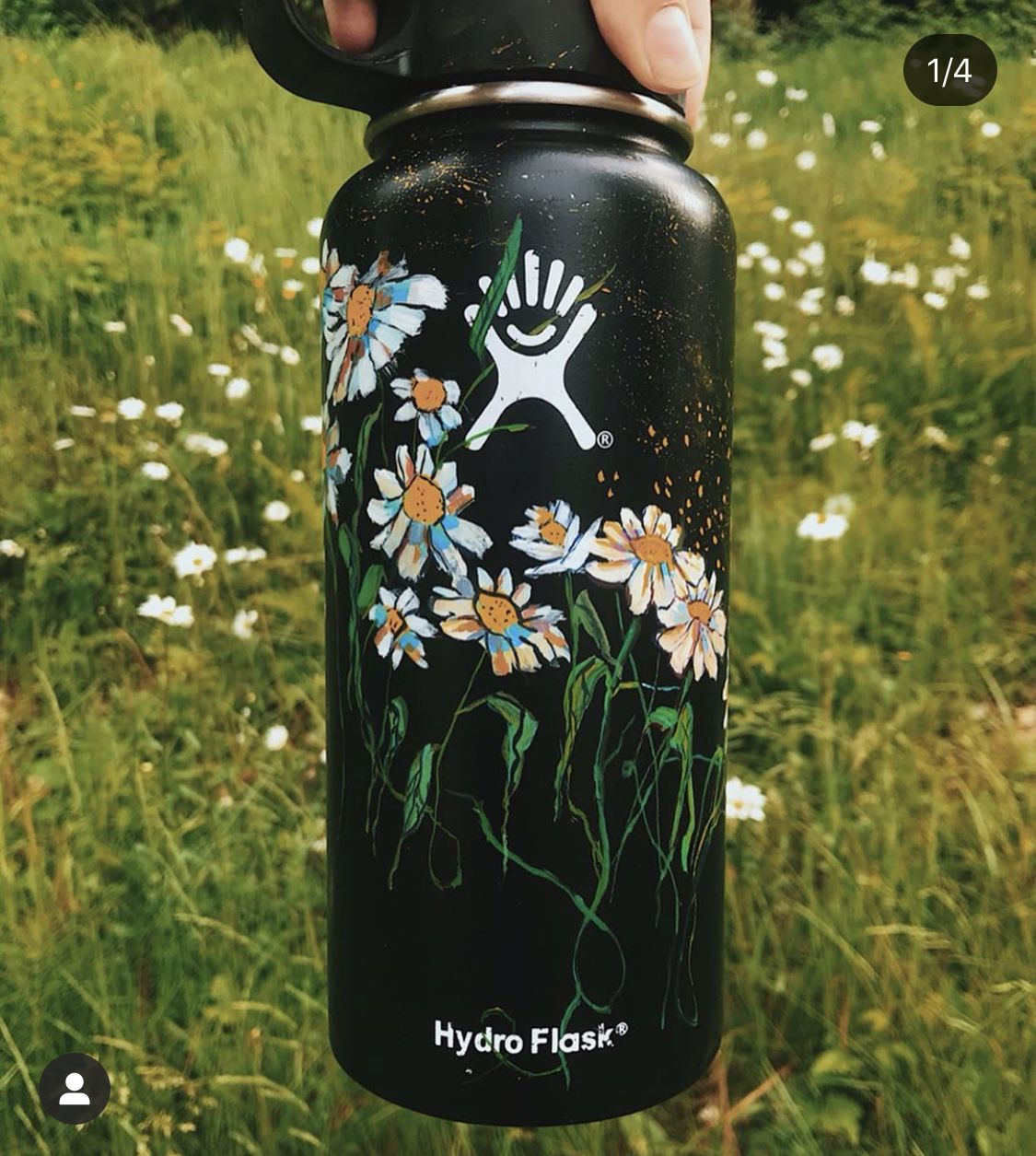 Aesthetic Painting On Hydroflask Water Bottle With Acrylic Colors