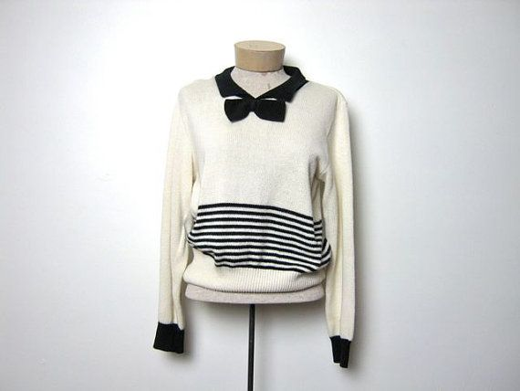 Vintage 80s tuxedo sweater with knit bow by dirtybirdiesvintage, $36.00