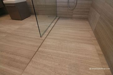 Bathroom In Natural Stone With A Curbless Shower Modern Bathroom
