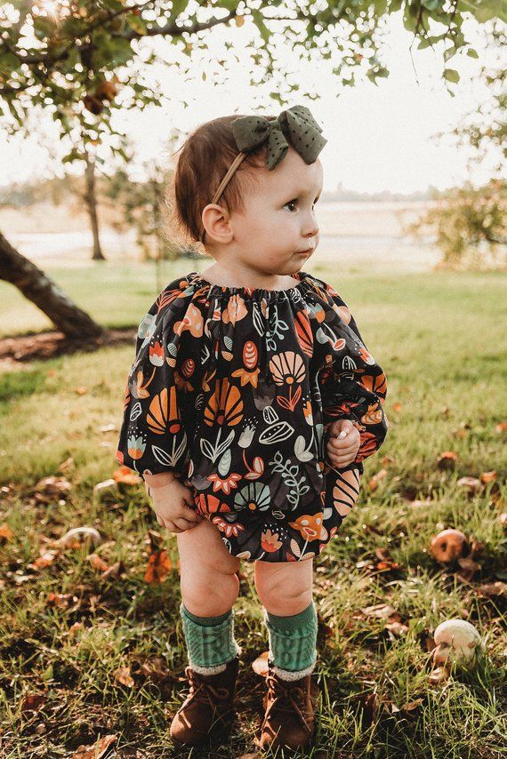 6c7e5172e97b Fall Bubble Romper, Baby Romper, Floral, Thanksgiving Romper, Bohemian,  Photos, Girls, Newborn, Baby